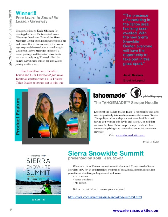 Sierra Snowkite Center January Newsletter